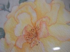 GILT FRAMED ORIGINAL WATERCOLOUR PAINTING SIGNED M. LINDSAY GOLDEN YELLOW ROSE